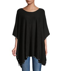 faux pearl-embellished poncho