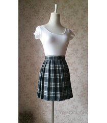 black white plaid skirt women girl short black and white tartan skirt plus size