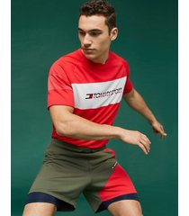 tommy hilfiger men's performance mesh t-shirt hibiscus red - l