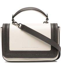brunello cucinelli bead-trim logo-debossed crossbody bag - neutrals