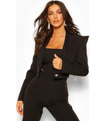 tailored power shoulder military crop blazer, black