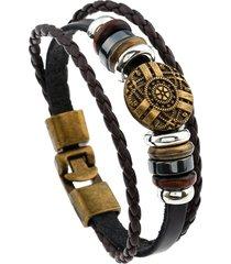 braccialetto etnico multistrati in cuoio
