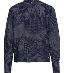 ams blauw top in seasonal indigo storytelling jacquard blouse lange mouwen blauw scotch & soda