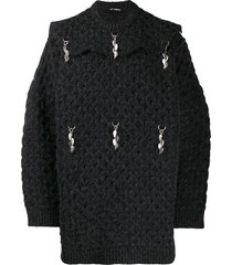 raf simons charm detail oversized jumper - blue