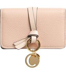 women's chloe alphabet leather foldover card case - pink