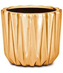 cachepot em cerâmica 7x8cm dourado