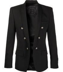 balmain embossed-button structured blazer - black