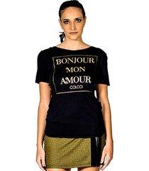 t-shirt bonjour mon amour colcci  m