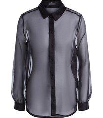 transparante blouse organza  zwart