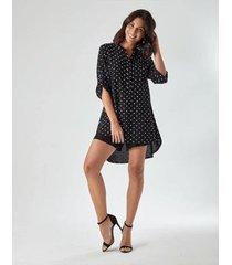 vestido chemise poa feminino