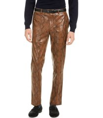 tallia men's brown snakeskin pants