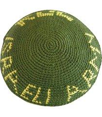 """knitted kippa 7.2"""" / 18cm yarmulke kippah skullcap cap idf zahal olive green"""