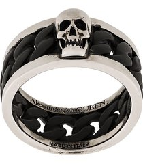 alexander mcqueen skull panelled ring - black