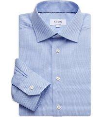 eton men's contemporary-fit micro plaid dress shirt - blue - size 17