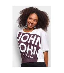 camiseta john john barra elástica feminina