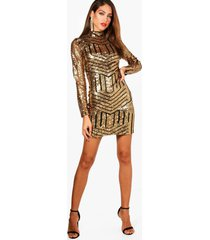 tall ava high neck all over patterned sequin dress, gold