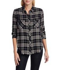 rails women's leo plaid shirt - onyx peach - size s