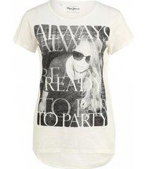 pepe jeans off white shirt met strass