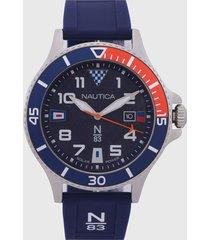 reloj azul-plateado-rojo nautica