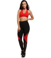 calça legging galvic preta com detalhe neon com tela vermelho
