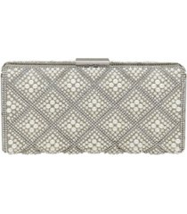 la regale diamond pattern pearl and crystal box clutch