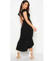 frill detail strappy back fishtail midi dress, black