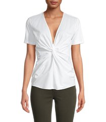 donna karan new york women's twist front cotton-blend top - white - size s