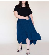 ori women's plus size swept away crepe maxi skirt