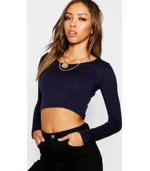 basic long sleeve crop top, navy