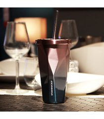 starbucks golden stainless steel cold cup tumbler travel straw powder-coated
