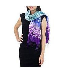 tie-dyed scarf, 'fabulous purple' (thailand)