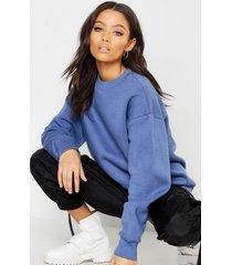 basic oversized sweater met ronde hals, denim