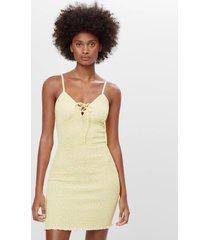 jurk met elastisch garen en knoop