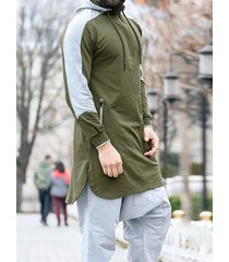 hombre casual soft sudaderas con capucha y dobladillo con aberturas y bloques de colores