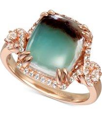 le vian peacock aquaprase (12 x 10mm) & vanilla topaz (3/8 ct. t.w.) statement ring in 14k rose gold