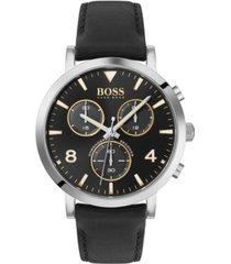 boss men's chronograph spirit black leather strap watch 41mm
