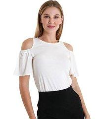 blusa com abertura na manga babados feminina - feminino
