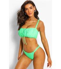 fuller bust ruched bandeau bikini top, green