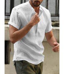 ncerun hombres vendimia botón de cuello alto de color sólido frente camisa