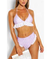 high waist bikinibroekje met ruches en hartjesprint, lilac