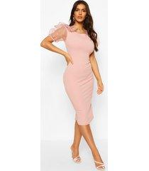 bodycon midi dress with organza sleeves, blush