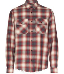 amiri flannel frayed-hem plaid shirt - red