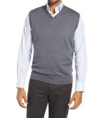 men's peter millar crown soft merino wool & silk sweater vest, size medium - grey