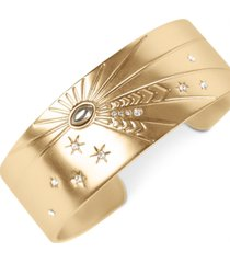 lucky brand gold-tone crystal & stone celestial-etched cuff bracelet