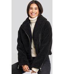 na-kd short teddy zipper jacket - black