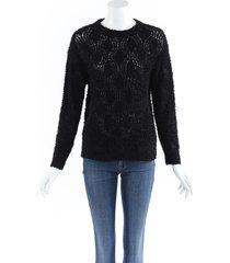 brunello cucinelli fuzzy knit sweater black sz: custom