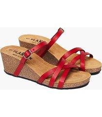 sandalia dama, modelo s2 brenda, cuero vaquetilla rojo