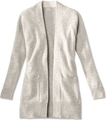 cashmere open front cardigan sweater, light gray, x large