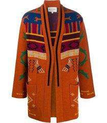 etro embroidered draped cardigan - orange