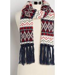 maurices womens navy fair isle oblong scarf blue